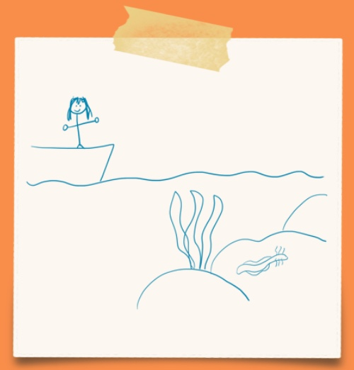 cartoon of a person standing on a ship and a nudibranch under the water on a rock